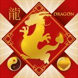 Charm with Chinese Zodiac Dragon, Earth Element and Yang Symbol, Vector Illustration. Red rhombus charm and ribbons for good luck and golden silhouette of Stock Photos