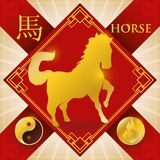 Charm with Chinese Zodiac Horse, Fire Element and Yang Symbol, Vector Illustration Royalty Free Stock Image