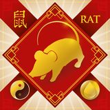 Charm with Chinese Zodiac Rat, Water Element and Yang Symbol, Vector Illustration. Poster with red good luck charm and golden silhouette of Chinese zodiac animal Stock Image