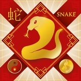Charm with Chinese Zodiac Snake, Fire Element and Yin Symbol, Vector Illustration. Poster with red rhombus with golden patterns, symbols and silhouette of Royalty Free Stock Images