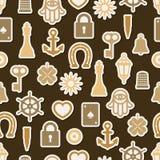 Charm good luck symbols seamless pattern Stock Photography
