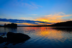 Charm of the Northern sunset. North Karelia Russia Royalty Free Stock Photos