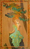 Charm. Portrait Of A Beautiful Girl Smelling A Flower. Oil Painting On Wood. Royalty Free Stock Images