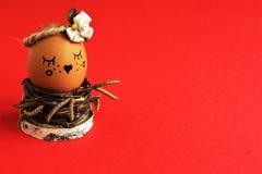 Charma kokett ljus - brunt ägg med satängblomman i pastellfärgad ton i hemlagad gnäggande av björkris i rede på röd bakgrund royaltyfri foto