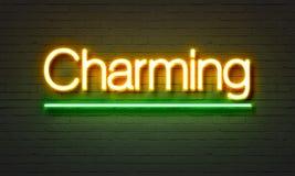 Charmant neonteken op bakstenen muurachtergrond Stock Fotografie