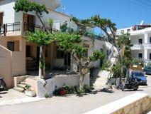 Charmante bloemendecor en bomen op het Eiland Kreta, Griekenland Royalty-vrije Stock Fotografie