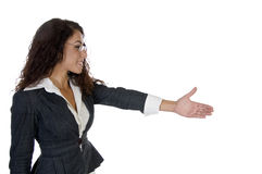 Charmante dame die handschok aanbiedt Stock Fotografie