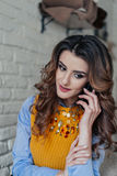 Charmante dame die op de telefoon spreken Royalty-vrije Stock Foto