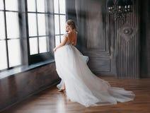 Charmante engel in sneeuwwitte kleding die in kasteeltoren dansen met grote vensters, een nieuw verhaal over Cinderella en Sneeuw royalty-vrije stock foto's