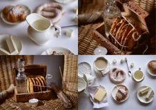 Charmante Franse Ontbijt witte reeks en croissants, boter, heemst, en pretzel Een helder palet stock foto