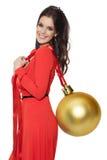 Charmante Grote Gouden de Boombal van de Vrouwenholding Gelukkig Nieuwjaar Royalty-vrije Stock Foto's
