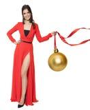 Charmante Grote Gouden de Boombal van de Vrouwenholding Gelukkig Nieuwjaar Stock Foto's
