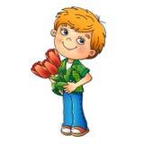 Charmante jongen die een boeket van Tulpen houden Stock Foto's