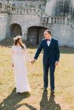 Charmante jonggehuwdebruid en bruidegomholding elkaar door handen op groen zonnig gazon dichtbij mooi geruïneerd barok paleis royalty-vrije stock afbeeldingen
