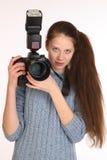 Charmante meisjesfotograaf Stock Afbeeldingen
