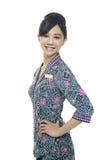 Charmante stewardess in eenvormig Royalty-vrije Stock Afbeelding