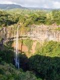 Charmarel瀑布毛里求斯 免版税库存图片