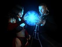 Charme de moulage de deux magiciens Images libres de droits