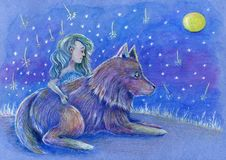 Charmed colored pencils fantastic sketch of magical girl and wolf surrounded by falling stars at blue misty night with big full mo vector illustration