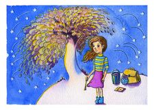Charmed watercolor fantastic sketch of magical girl painting a magic tree surrounded by falling stars at blue misty night backgrou. Nd. Mysterious colorful hand royalty free illustration