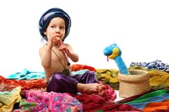 Charmer boy with pipe. And snake Stock Images
