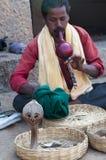 Charmeur de serpent indien avec le cobra Hampi, Inde Images libres de droits