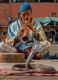 Charmeur de serpent jouant la musique, Marrakech, Maroc photo libre de droits