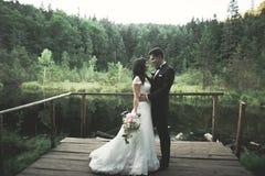 Charmig brud, elegant brudgum på landskap av berg och solnedgång på sjön ursnyggt bröllop för par Royaltyfria Bilder