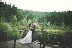 Charmig brud, elegant brudgum på landskap av berg och solnedgång på sjön ursnyggt bröllop för par Royaltyfri Fotografi