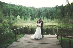 Charmig brud, elegant brudgum på landskap av berg och solnedgång på sjön ursnyggt bröllop för par Royaltyfri Bild