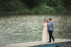 Charmig brud, elegant brudgum på landskap av berg och solnedgång på sjön ursnyggt bröllop för par Arkivbilder