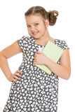 Charmig flicka med en bok i hand Arkivfoton