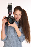 Charmig flickafotograf Arkivbilder