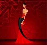 charmig klänningladyred Royaltyfria Foton