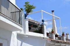 Charmig terrass och lampglas med växter i Frigiliana, spansk vit by Andalusia Royaltyfri Bild
