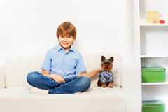 Charmiga bruna Yorkshire Terrier med pojken på soffan arkivbilder