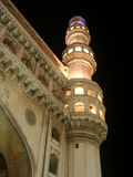 Charminar. One of the minars illuminated at night on the eve of the Id festival of muslims Royalty Free Stock Images