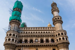 Charminar covered with nets for repair and restoration Stock Images