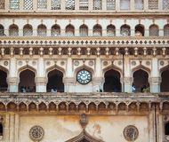 Charminar Historical Monument of India. Situated at Hyderabad city. One side view of Charminar with big clock stock photos