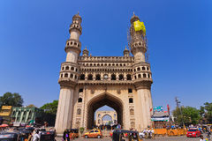 Charminar - Hyderabad. HYDERABAD ANDHRA PRADESH INDIA - MARCH 5 : The Charminar is a Islamic architecture monument and mosque made from granite, limestone Royalty Free Stock Photos