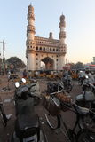 Charminar and motorbikes. Early morning  view of Charminar, Hyderabad, India Stock Photos