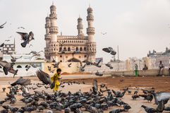 Charminar and Pigeons Royalty Free Stock Photography