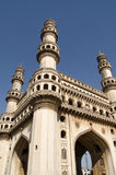 Charminar Tower angled view. View looking up towards the top of Charminar tower in the centre of Hyderabad, India. The Mughal Empire era tower is the most Royalty Free Stock Photos