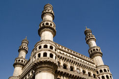 Charminar Tower, Hyderabad. View of the landmark Charminar tower in central Hyderabad, India.   Islamic architecture built during the Mughal Empire and housing a Royalty Free Stock Photos