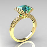 Charming 18k Yellow Gold Princess Aquamarine Ring Stock Photography