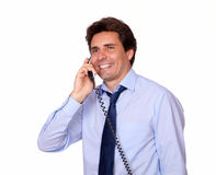 Charming adult man speaking on phone Royalty Free Stock Photo