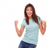 Charming adult woman celebrating her victory Stock Image