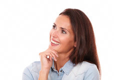 Charming adult woman looking to her right Royalty Free Stock Photo