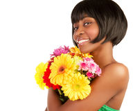 African female with fresh flowers Royalty Free Stock Photos
