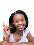 Charming Afro-american woman pointing Royalty Free Stock Images